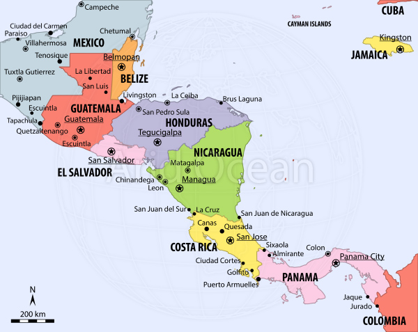 Central America, political map